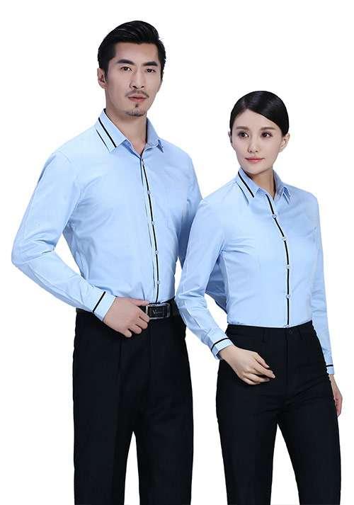 湖蓝职业衬衫定制