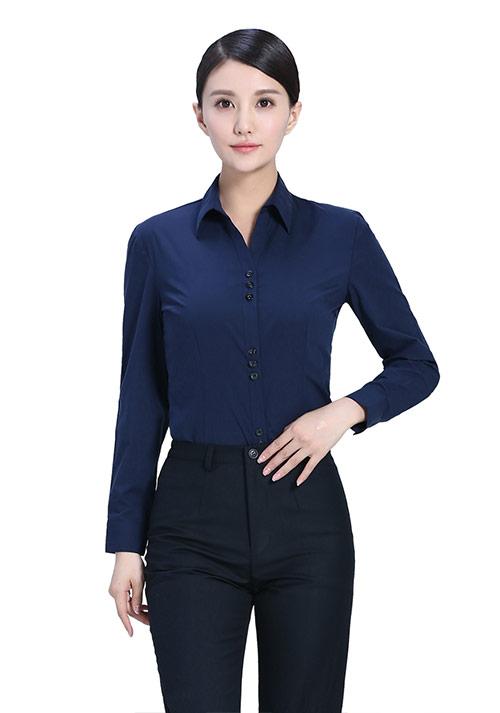 藏蓝黑色纯棉衬衫