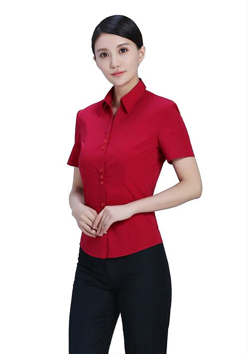 红色短袖纯棉衬衫