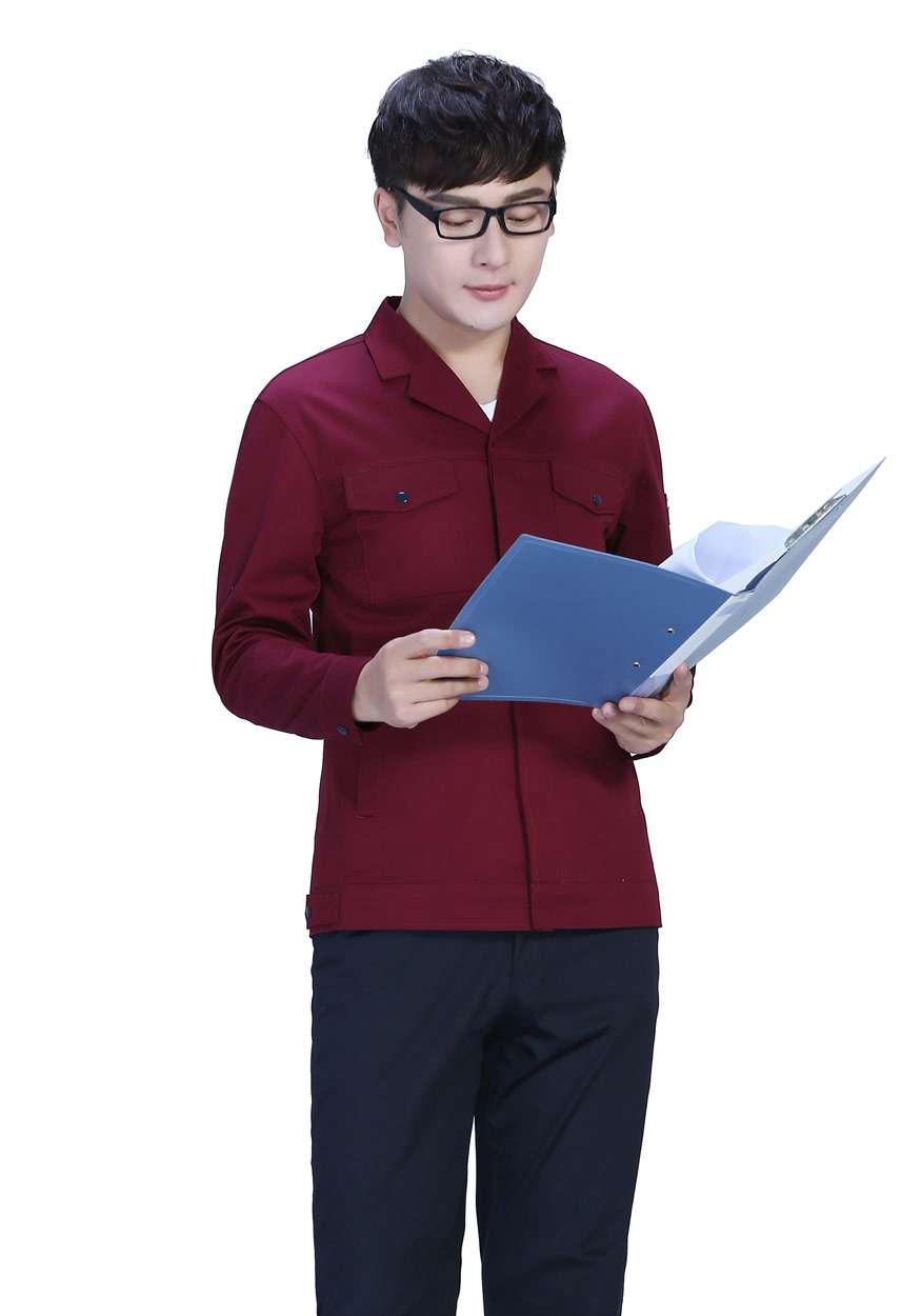 桔红色春秋工作服FY8001