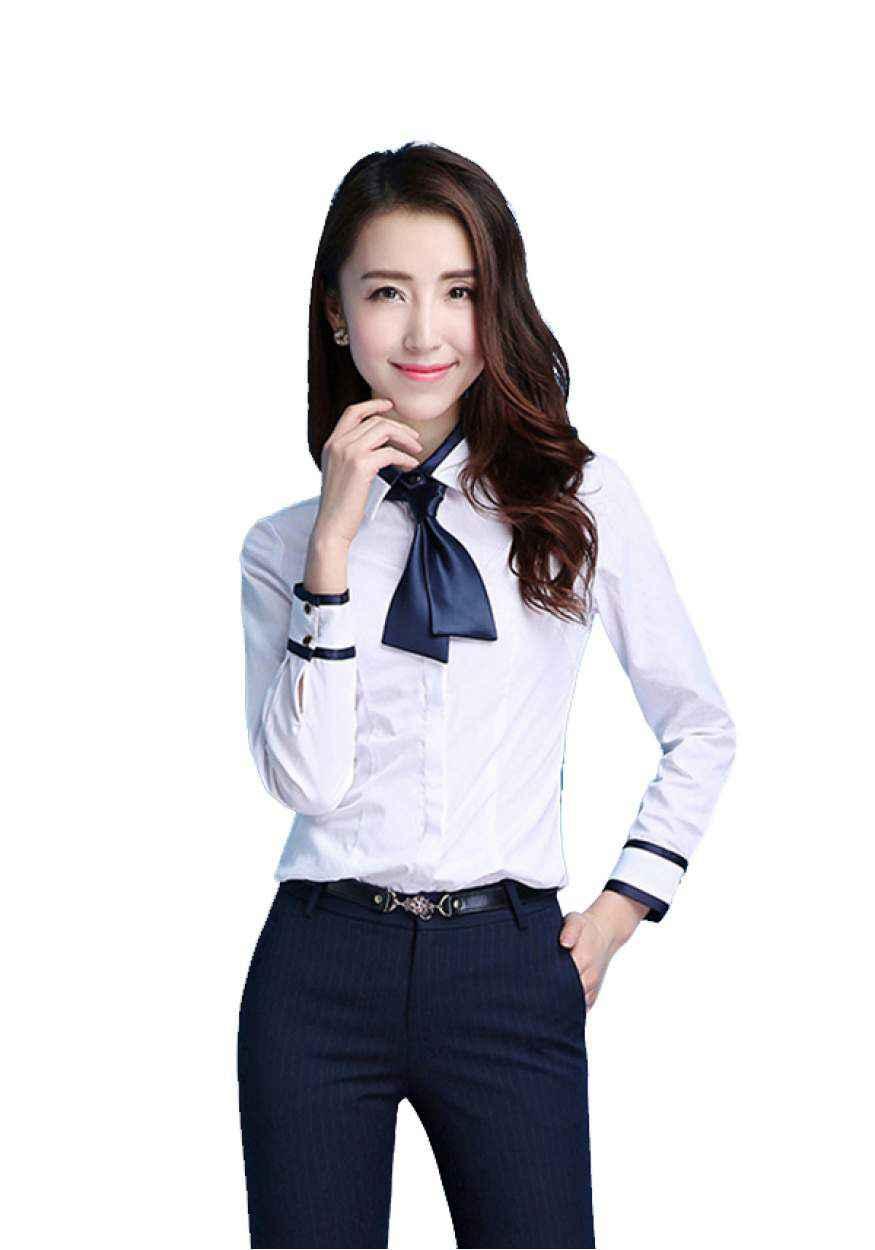 春秋白色女士职业衬衫