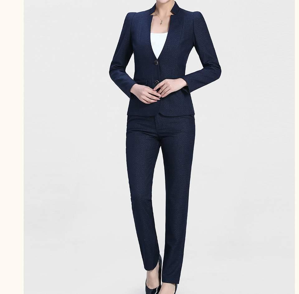 时尚深蓝色开领两粒扣女士职业装